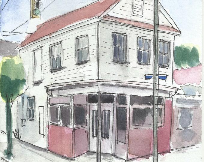 Charleston Corner Store Watercolor 5x7 Painting