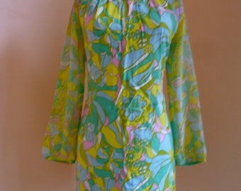 Vintage 60s Mod Bright Pastels Dress, long sheer sleeves, medium m large l