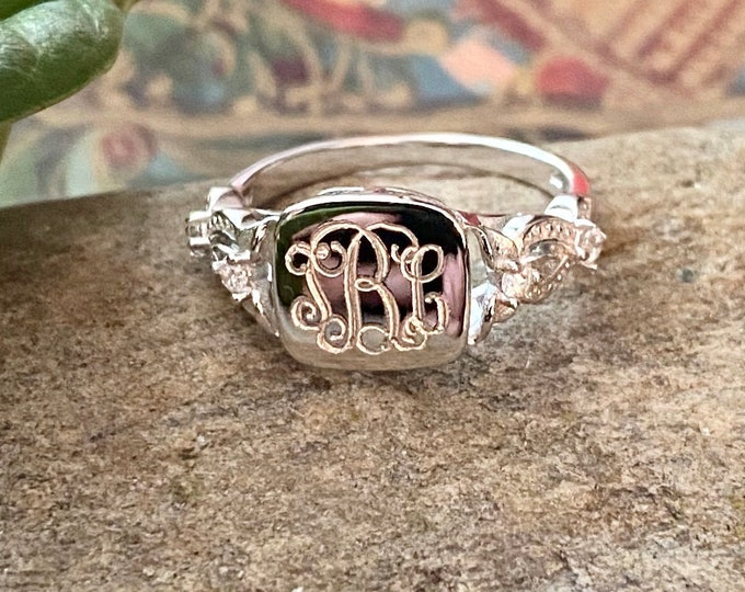 Sterling Silver Square Monogrammed Ring With CZ Accents