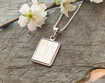 Sterling Silver Rectangle with Rope Edge Monogram Necklace Pendant