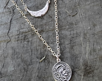 Sterling Silver Coin Layered Necklace