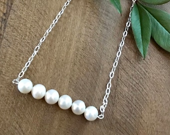 Freshwater Pearl Bar Necklace with Sterling Silver Chain