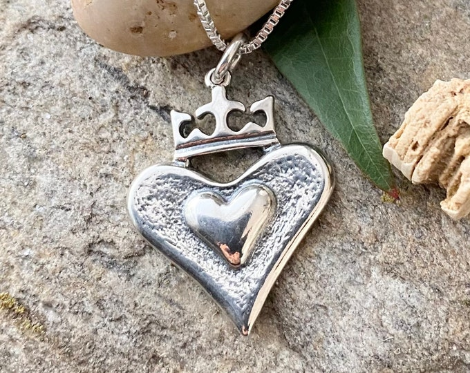 Sterling Silver Antique Finish Heart with Crown Necklace