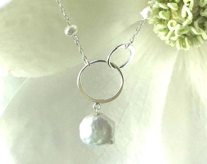 Sterling Silver Freshwater and Coin Pearl Necklace