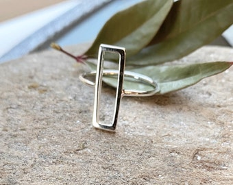 Sterling Silver Rectangle Cutout Ring