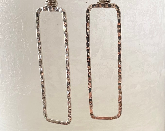 Long Hammered Rectangle Sterling Silver Earrings