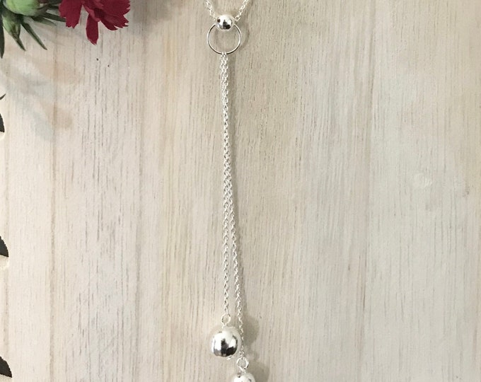 Sterling Silver Lariat Style Bead Necklace