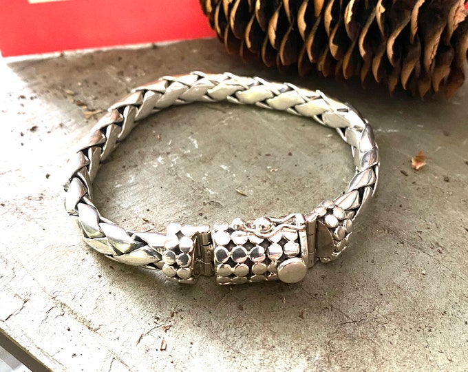 Sterling Silver Bali Link Bracelet with Ornate Clasp
