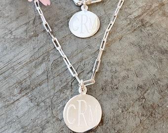 Sterling Silver Paper Clip Necklace or Bracelet with Monogram Pendant