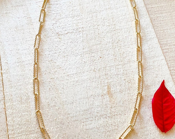 Gold over Sterling Silver Twisted Link Paper Clip Chain