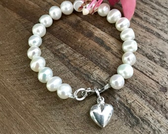 Freshwater Pearl Baby and Children's  Bracelet with Sterling Silver Heart Charm