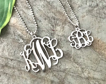 Sterling Silver Monogrammed Cutout Necklace