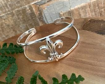 Sterling Silver 925 Fleur De Lis Cuff Bracelet