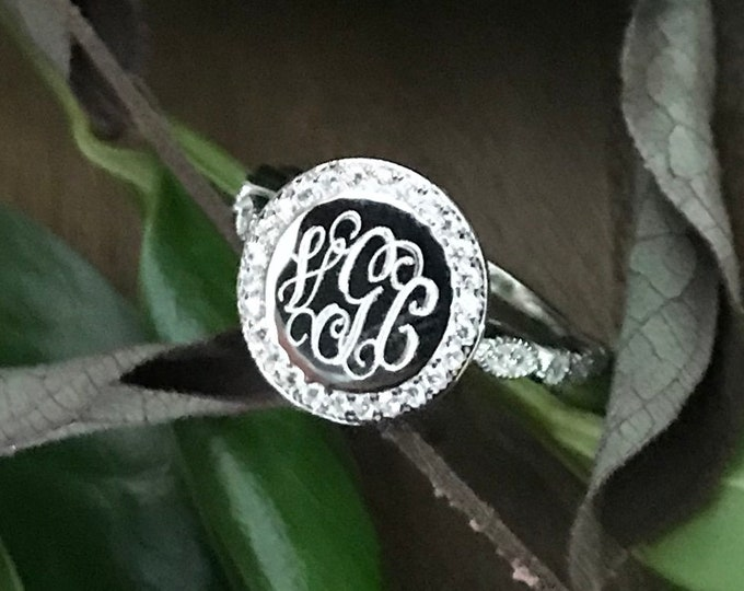 Sterling Silver 925 Monogrammed Ring Round with CZ Halo