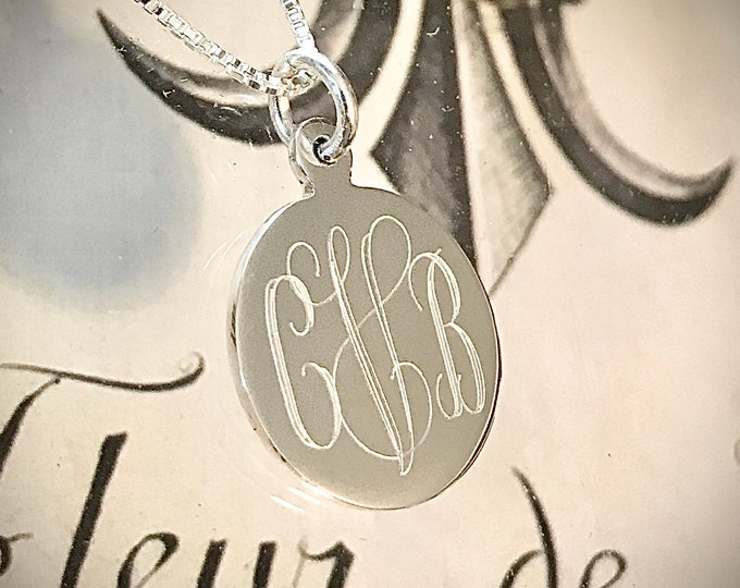Featured listing image: Monogrammed Sterling Silver Necklace
