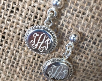 Sterling Silver Monogrammed Earrings with rope edge (posts)