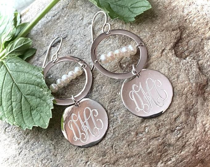 Sterling Silver Monogrammed Pearl with Round Monogram Drop Earrings