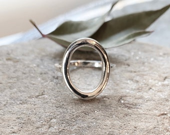 Sterling Silver Round Oval Cutout Ring