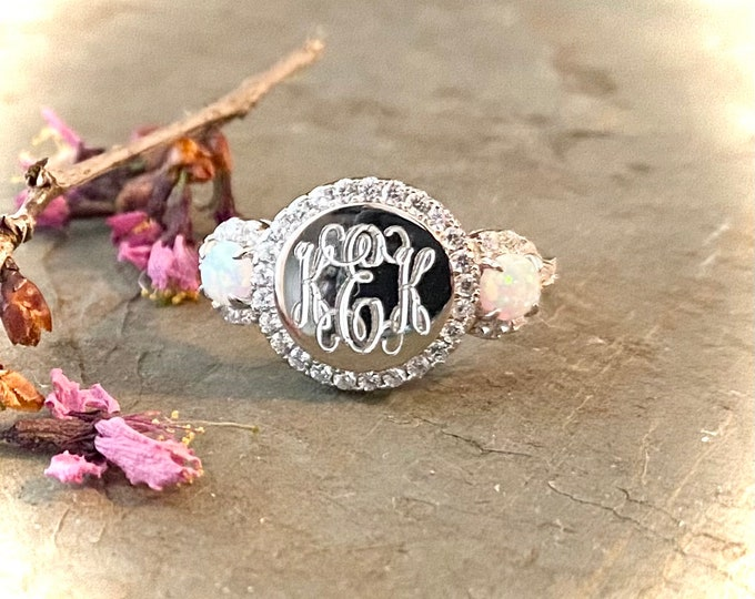 Sterling Silver and Opal Monogrammed Ring
