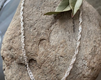 Sterling Silver Singapore Twist Anklet