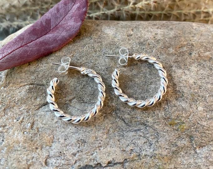 Small Rope Twist Hoop Earrings in Sterling Silver