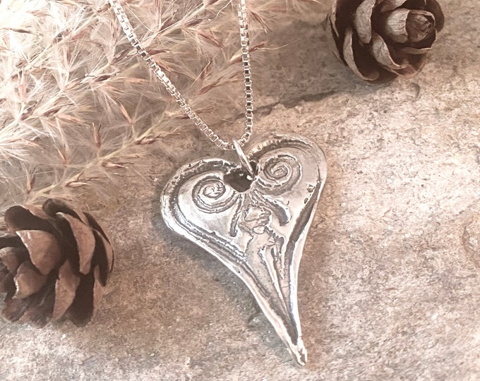 Sterling Silver Freeform Heart Necklace or Pendant