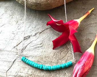 Sterling Silver Blue Turquoise and Sterling Necklace