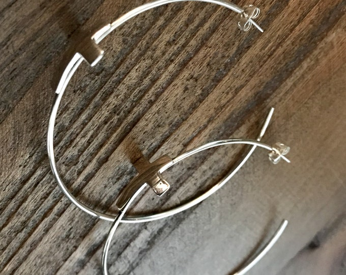 Large Hoop Earrings with Crosses