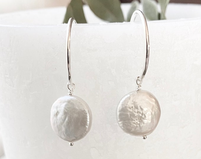 Sterling Silver Hoop Earrings with Coin Pearl Dangle
