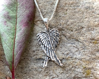 Sterling Silver 925 Double Angel Wing Necklace Pendant