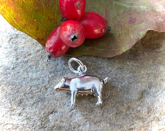 Sterling Silver Cute Little  Pig Charm Pendant