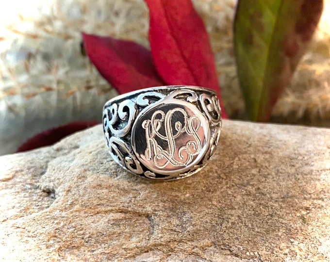 Sterling Silver Monogrammed Scroll Pattern Chunky Ring
