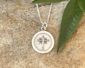 Sterling Silver Cross Medallion Style Necklace or Pendant
