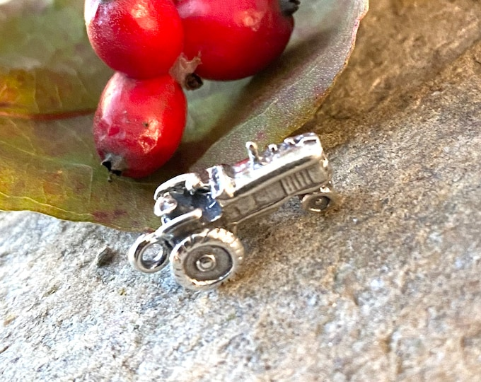 Sterling Silver Tractor Charm Pendant