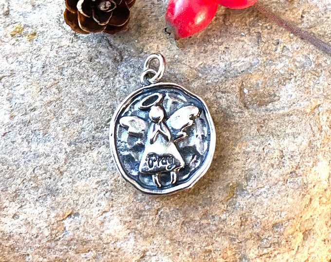 "Sterling Silver Antique Finish Angel ""Pray"" Charm Pendant"