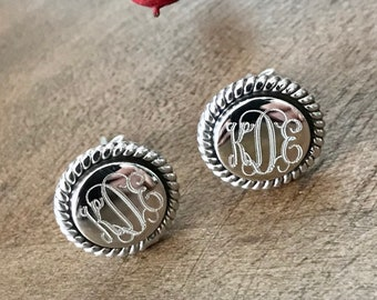 Sterling Silver Monogrammed Round Stud Earrings with Rope Accent