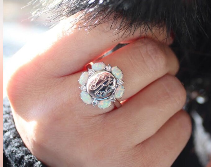Elegant Sterling Silver Opal Monogrammed Ring