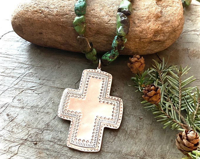 Sterling Silver Chunky Turquoise and Sterling Cross Necklace