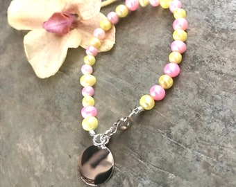 Freshwater Pearl Baby/Children's  Bracelet with Sterling Silver Monogram Charm