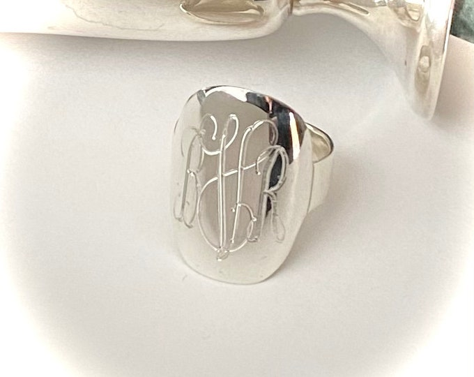 Sterling Silver Monogrammed Ring Oval
