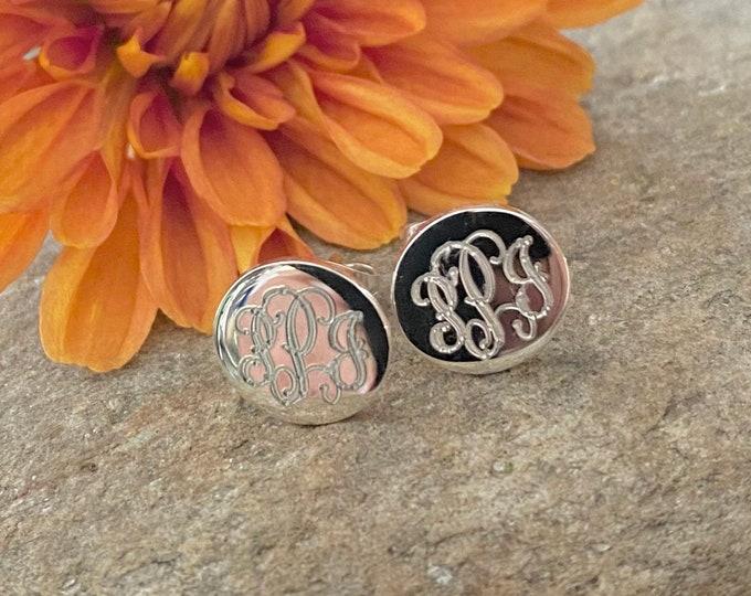 Sterling Silver Monogrammed Round Stud Earrings