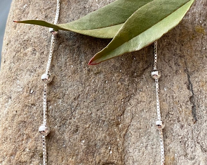 Sterling Silver Bead Box Anklet