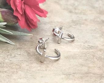 Sterling Silver Tiny Cross Hoop Earrings