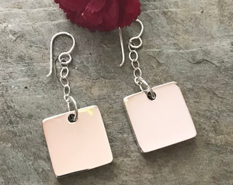 Sterling Silver Large Square Monogrammed Earrings