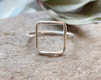 Sterling Silver Square Cutout Ring