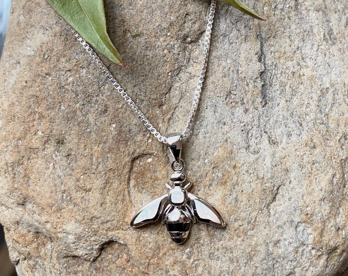 Sterling Silver Opal Bee Necklace or Pendant