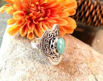 Sterling Silver Freeform shape Stone Ring