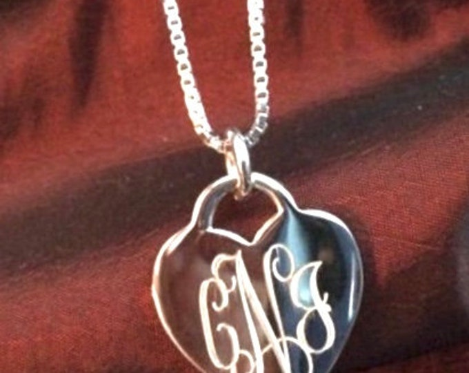 Monogrammed Sterling Silver Heart Pendant Necklace with Chain