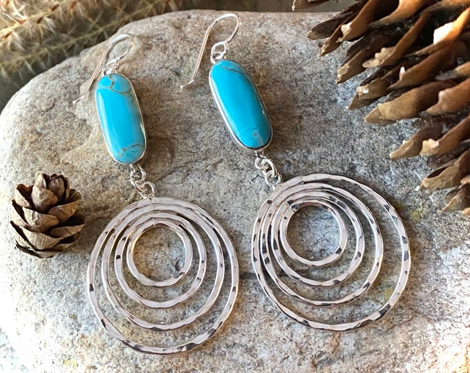 Sterling Silver Long Turquoise and Spiral Earrings