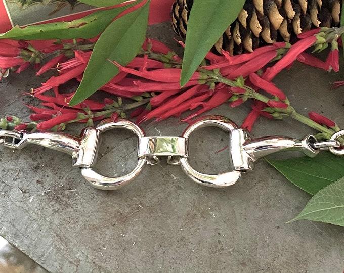 Sterling Silver Large Horse Bit Bracelet